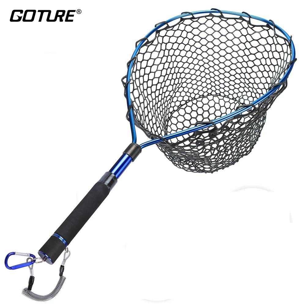 Goture Télescopique De Pêche Net Coulée Réseau Landing filet de pêche avec Magnétique Boucles Extensible Lanière Bleu/Rouge/Violet Couleurs