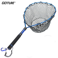 Goture Telescopic Fishing Net Casting Network Landing Fish Net with Magnetic Buckles Stretchable Lanyard Blue/Red/Purple Colors