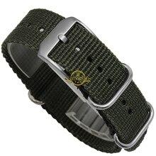 Nylon watchband perlon watch strap 22mm waterproof sport wristwatches band black blue stainless steel buckle watch accessories