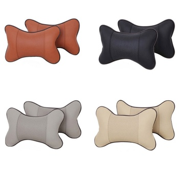 New Arrival Car Neck Pillows Both Side PU Leather Single Headrest Fit For Most Cars Filled Fiber Universal Car Pillow Headrest image