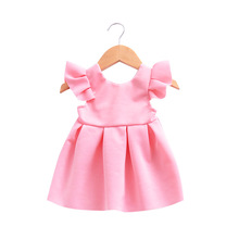 hot deal buy 1-4 years baby dresses girl short flutter sleeve lace bow backless solid color h784