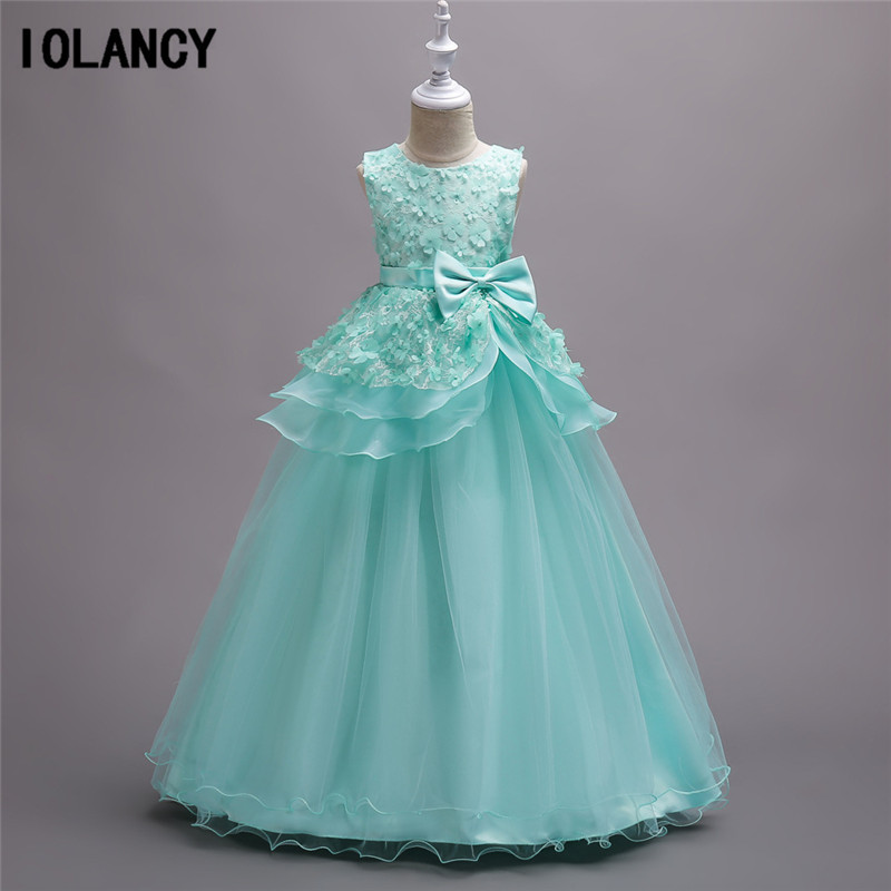 2017 Kids Flower Girls Dresses for Teenagers Costumes Girl Wedding Ceremony Party Prom Dress Girls Clothes for 5-16 Years GDR311 girls dress 2017 new summer flower kids party dresses for wedding children s princess girl evening prom toddler beading clothes