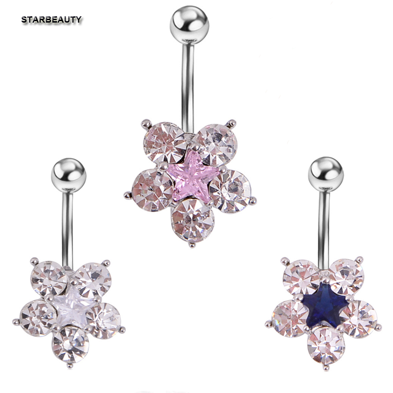 1pc/lot 14G Flower Navel Piercing Ombligo Pink Star Navel Ring Gauge Belly Button Rings Industrial Percing Nombril Women Lady