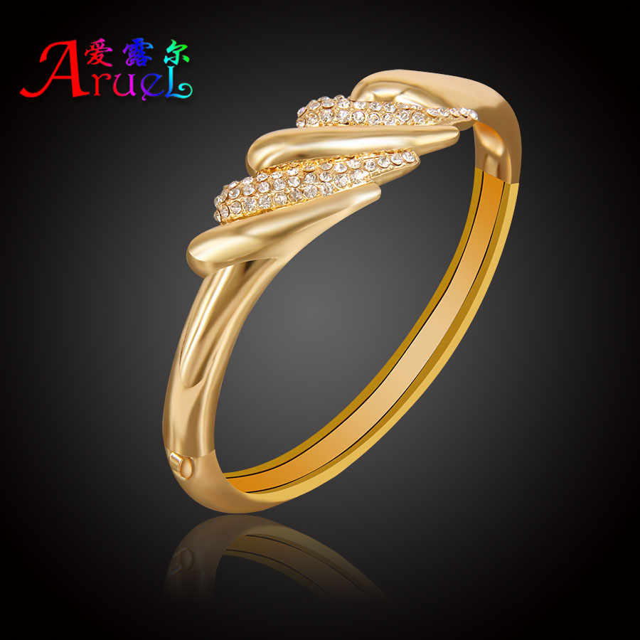 Popular Bangle Bracelets: ARUEL Gold Color Jewelry Africa Nigeria Women Fashion