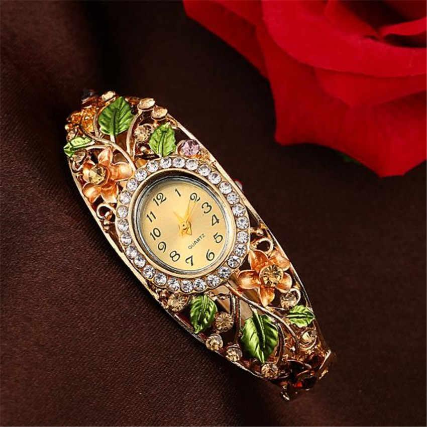 Venta caliente relojes de pulsera de cuarzo de lujo con flor de cristal reloj de pulsera para mujer # E