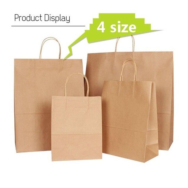 30 Stks/partij 4 Size Kraft Papieren Zak Met Handvatten Voor Wedding Party Modieuze Kleding Geschenken Multifunctionele Groothandel
