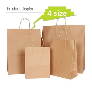 Image 1 - 30PCS/lot 4 size kraft paper bag with handles for Wedding Party Fashionable clothes Gifts Multifunction Wholesale