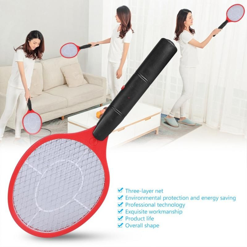 Home Electric Fly Mosquito Swatter Mosquito Killer Bug Zapper Racket Insects Killer Cordless Battery Power Mosquito Trap Swatter(China)