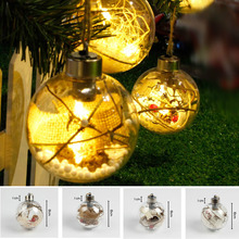 цена на 40pcs/lot 8cm Transparent Ball Christmas Tree Ornaments LED Lights Plastic Bauble Xmas Gifts Present Christmas Decoration
