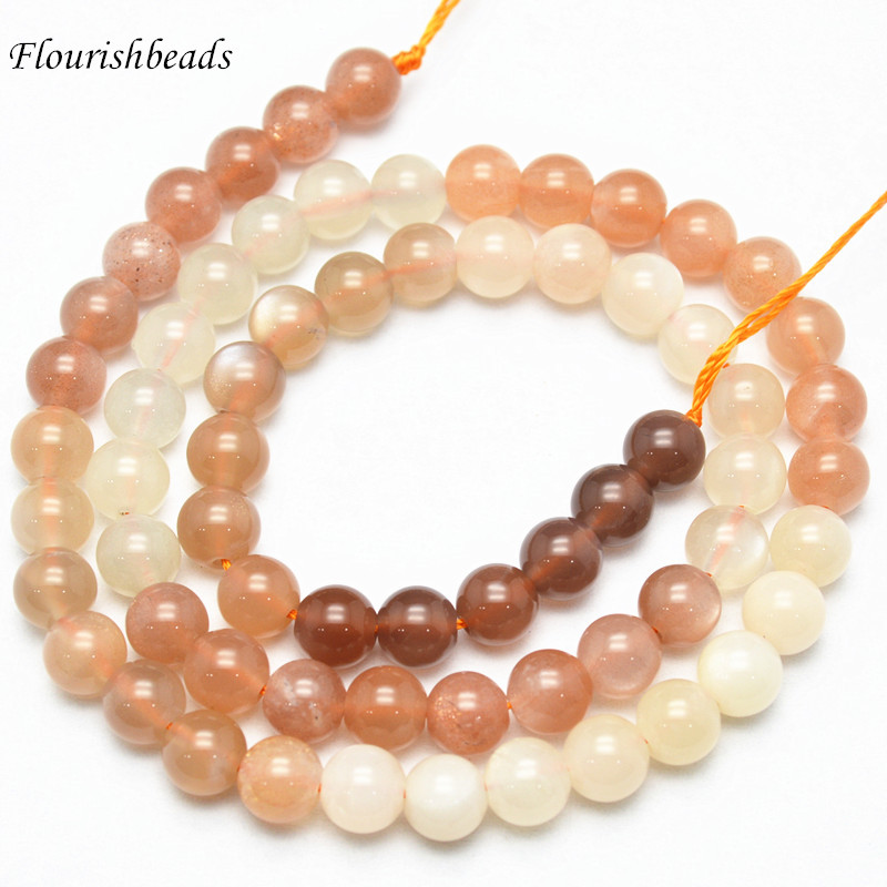 High Quality 6mm~12mm Mix color Natural Moonstone Stone Round Loose Beads 6mm 8mm 10mm Jewelry making supplies