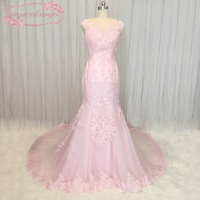 SuperKimJo 2018 New Design Mermaid Pink Evening Dresses for Women Lace Applique Beaded Modest Formal Dresses Robe De Soiree