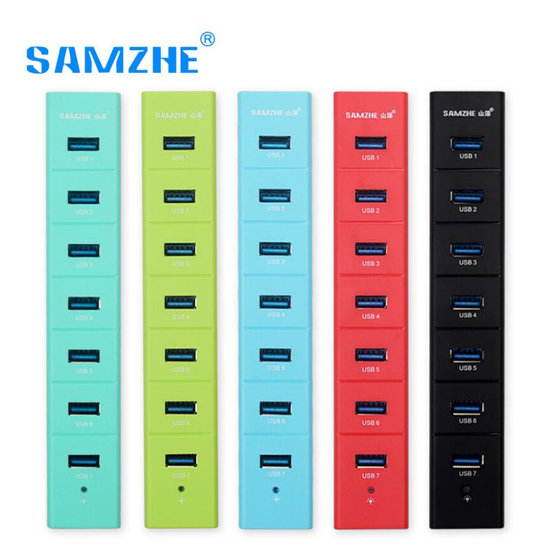 SAMZHE Super Speed Portable 7 Ports USB 3.0 HUB 5V 2A Charging for Laptop/Ultrabook/PC/Notebook/Desktop with Power Supply