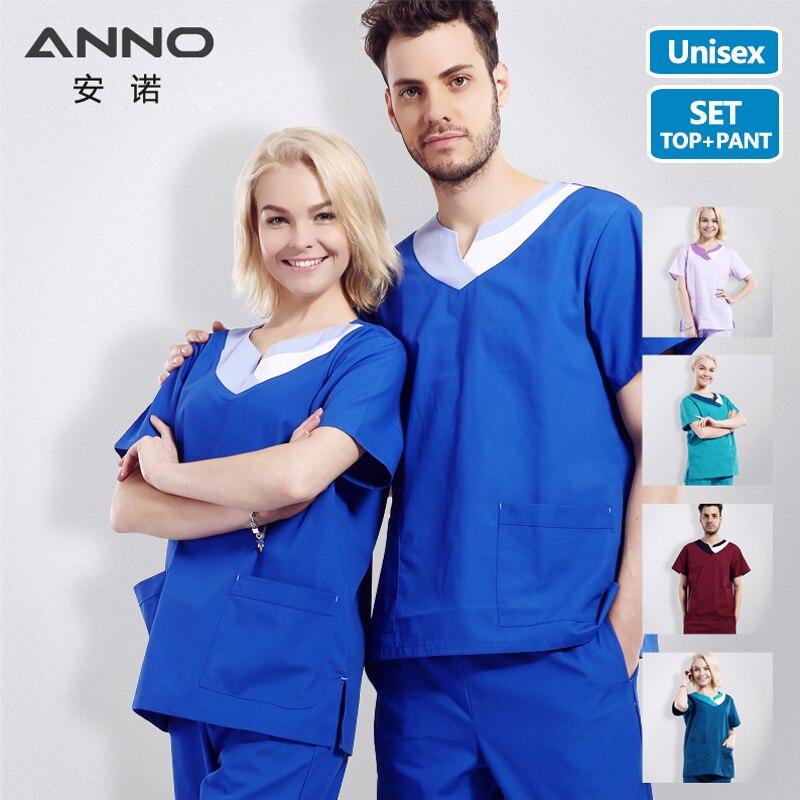 Short Sleeves Blue Filter Bleaching Nurse Uniform Medical Male Female Scrubs Set Hospital Form Surgical Uniform Medical Suit