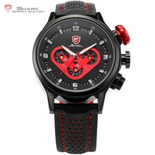 Megalodon SHARK Sport Watch Date Day 6 Hands Stainless Steel Case Leather Band Black Red Racing Quartz Wrist Men Watches /SH090