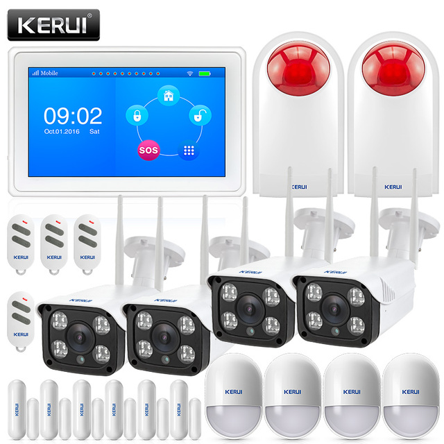 Special Price KERUI K7 WIFI GSM Security Alarm System With 4ps Outdoor 1080 WIFI Camera Siren Burglar Home Alarm Motion Detector APP Control