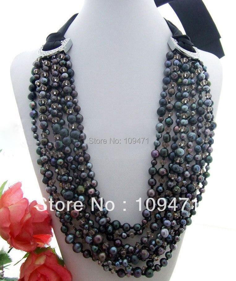 3fa09293b5b7 ⊱Hermoso! 9 strds negro perla y collar de cristal - w680
