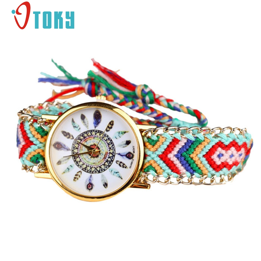 087bd5d726a OTOKY Relógio Mulheres Mão Tecer Pulseira Da Moda Relógios Pena Vestido  Relógio de Quartzo Analógico Para Senhoras  40 Dom 1 pc