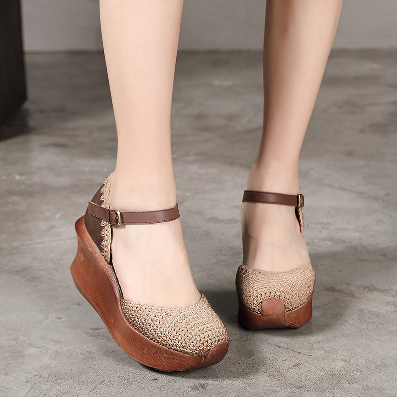 Artdiya Leather Women Shoes Handmade New Knitted Literary Fashion Thick Bottom Muffin Shoes National Increase Slope Heel Shoes