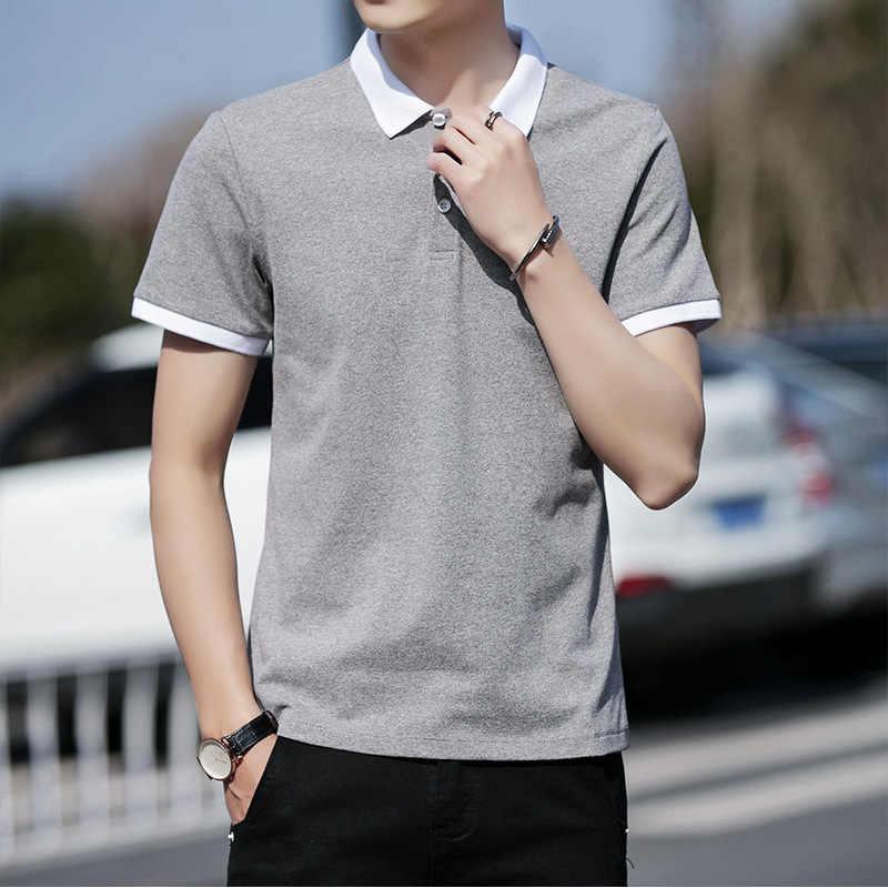 MRMT 2019 новые мужские рубашки поло Молодежные поддельные два предмета рубашка поло для мужчин с короткими рукавами и лацканами Топы Рубашки Поло