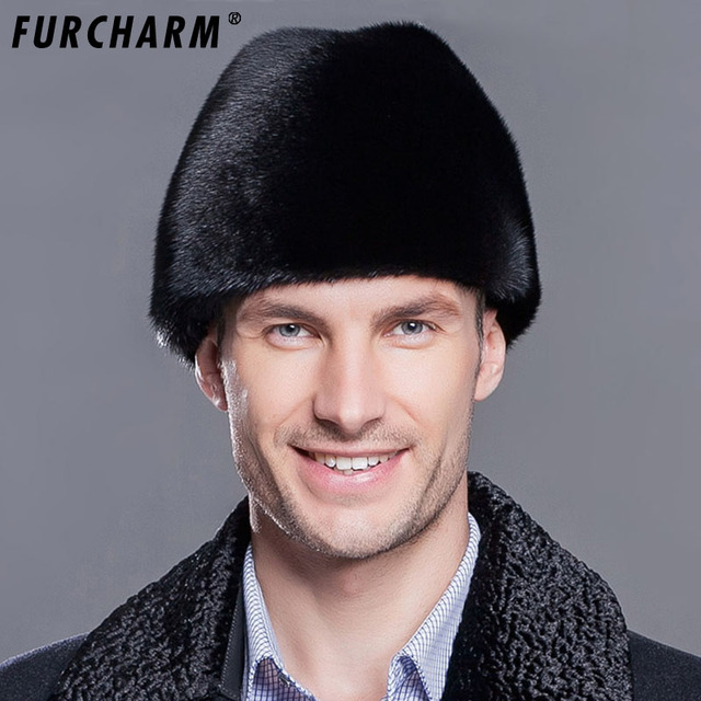 1ee790beb5c Furcharm Winter real fur hat Men mink fur hat Men s Mink Fur Trapper Cap  Genuine Sheepskin Leather Hunting Hat Ushanka