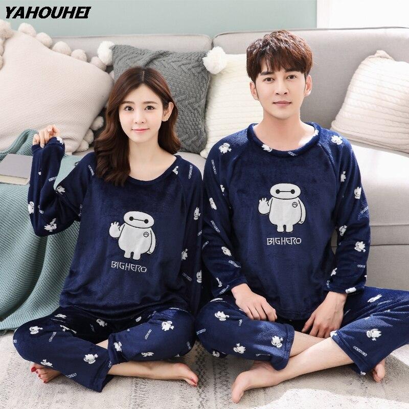 Autumn Winter Couples Thick Warm Flannel Pajama Sets For Women Long Sleeve Coral Velvet Pyjama Female Cartoon Sleepwear Homewear