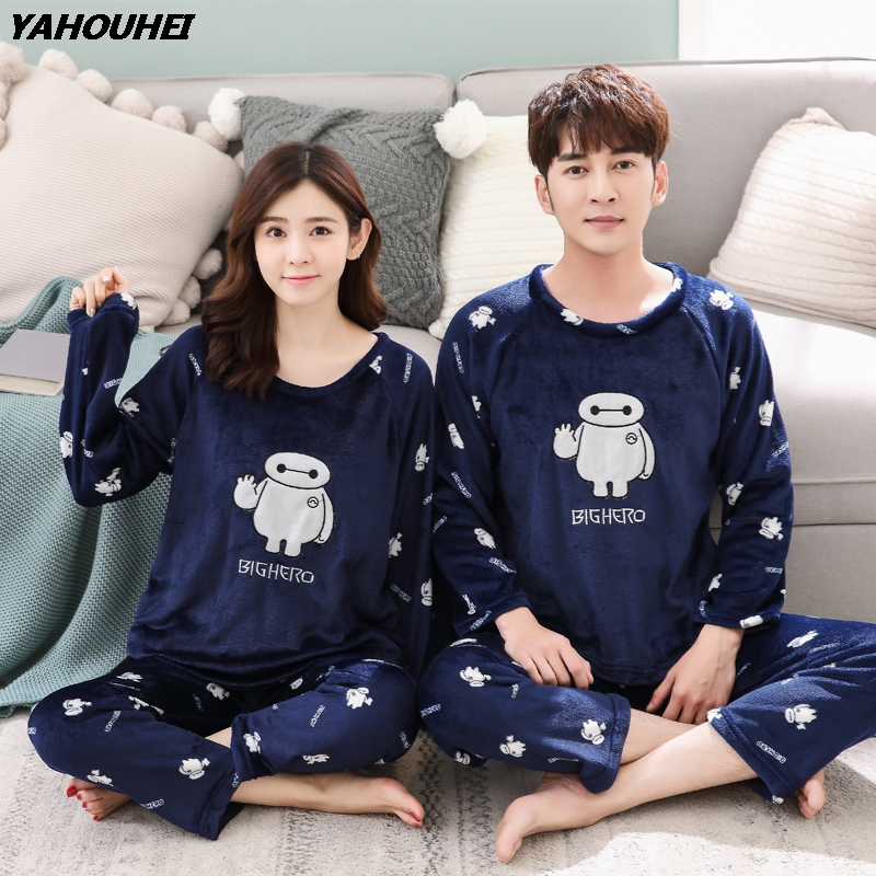 Autumn Winter Couples Thick Warm Flannel   Pajama     Sets   For Women Long Sleeve Coral Velvet Pyjama Female Cartoon Sleepwear Homewear