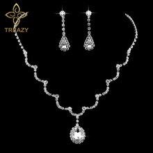 TREAZY Waterdrop Shape Crystal Bridal Jewelry Set For Women Elegant Rhinestone Necklace Earrings Set Wedding Jewerlry