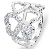 BELLA Romantic 925 Sterling Silver Heart Shape Clear Engagement Ring Cubic Zircon Bridal Ring Size 9