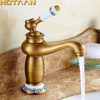 Free Shipping Bathroom Faucet Antique Bronze Finish Brass Basin Sink Faucet Single Handle Mixer Hot and Cold Lavatory Water Taps