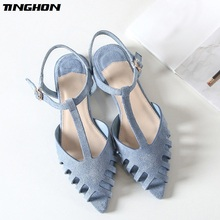 TINGHON Cuts-out Flat Sandals Women Pointed Toe Summer Beach Soft Solid Shoes