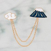 Japonais Mt Fuji & nuages gland collier émail broches broche avec chaîne japon voyage bijoux Kawaii japon visites Souvenirs