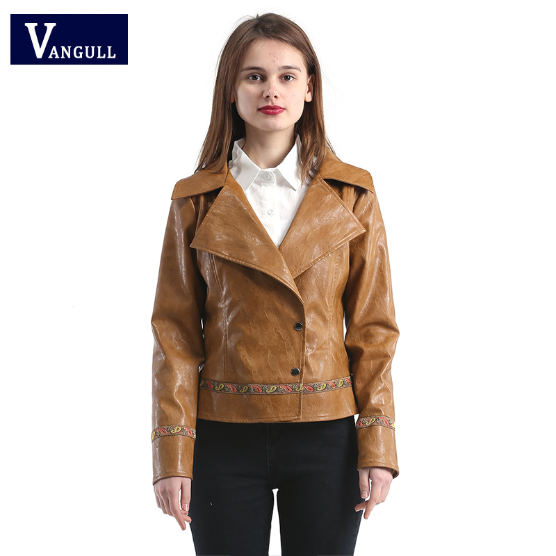 Vangull 2018 new anniversary spring high quality cool punk style short   leather  &  suede   casual short coat outwear for woman lady
