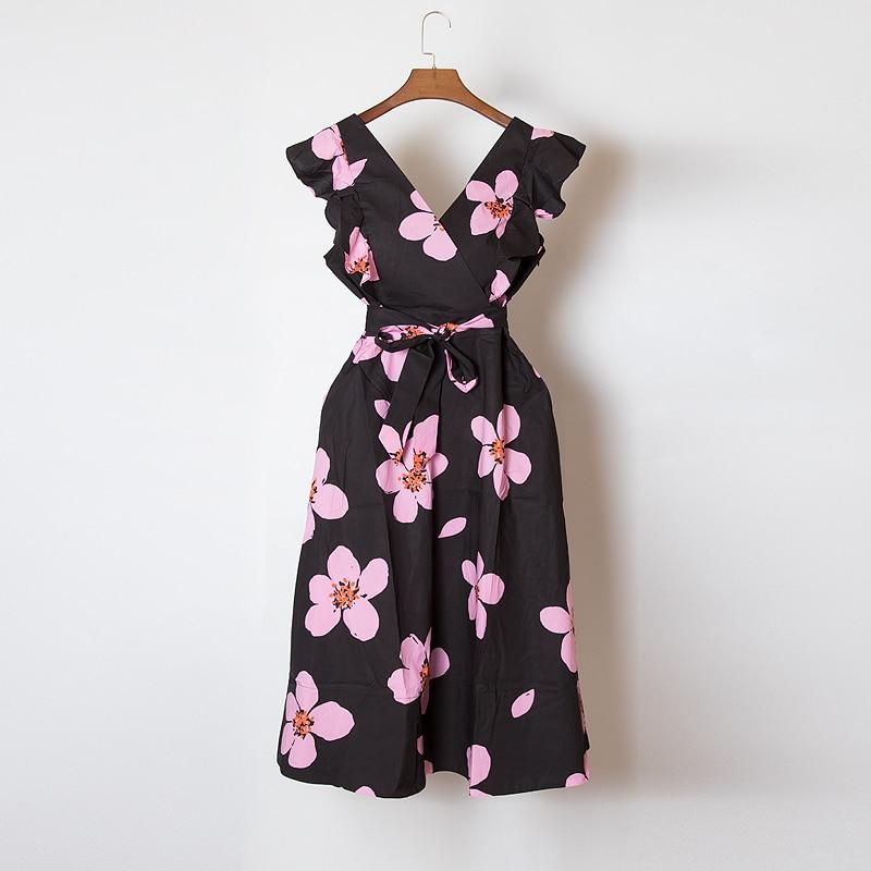 RoseNoirBleu Coton pu Robes Nu Noir Dos Imprimé Ceintures Floral V Mi Ruches Femme Ciel rose Robe Pour Cou Mode 2019 D'été Ruché longues kuTlZiXwOP