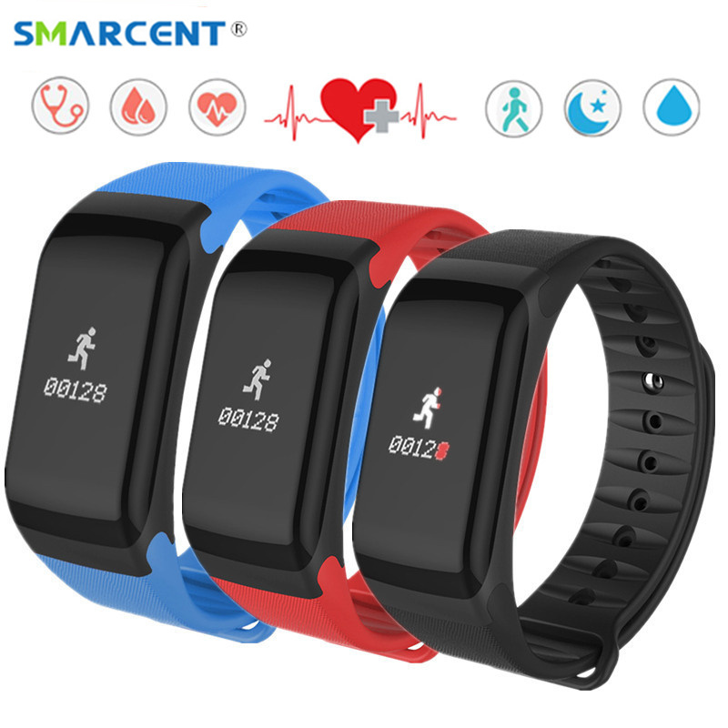 SMARCENT Fitness Tracker Wristband Heart Rate Monitor Smart Band 2 Blood Pressure F1 Smartband with Pedometer