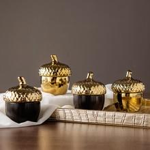 Danish Design Creative Sealing Storage Jar Pine Cone Gold Ceramic Jewelry Storage Box Gold-plated Christmas Xmas New Year Gifts цены онлайн