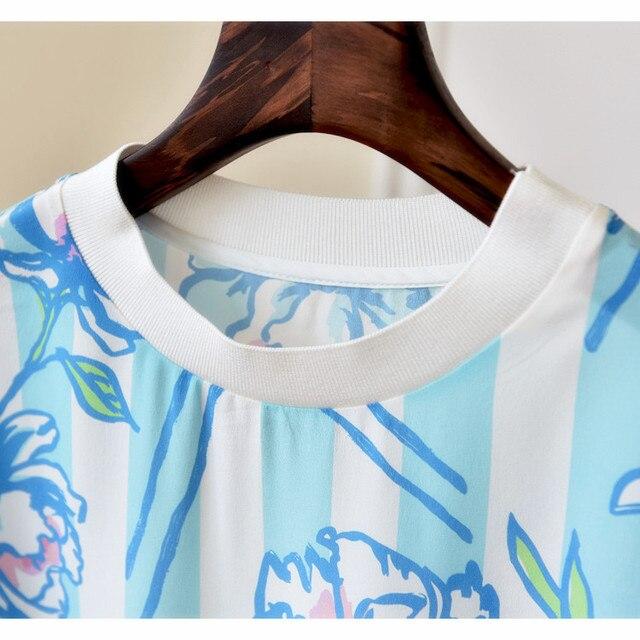 Fashion Patchwork Women T-Shirt 2017 Spring Summer Fashion 100% Silk Short Sleeve Women T Shirt New T Shirt Femme 2017