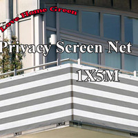 Gray/white striped privacy screen net awning fence for Deck Patio Balcony Porch 1X5m