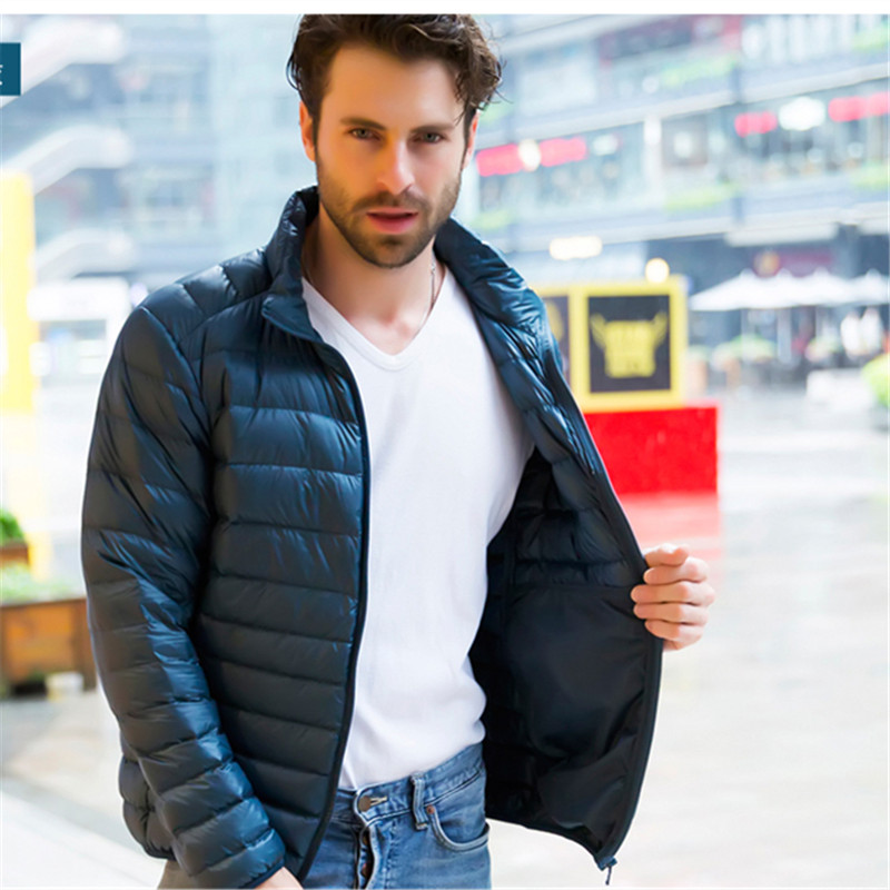 Men s Solid Thin Down parkas Jacket Coat Stand Collar Casual Parkas Outwear Autumn Winter Jackets