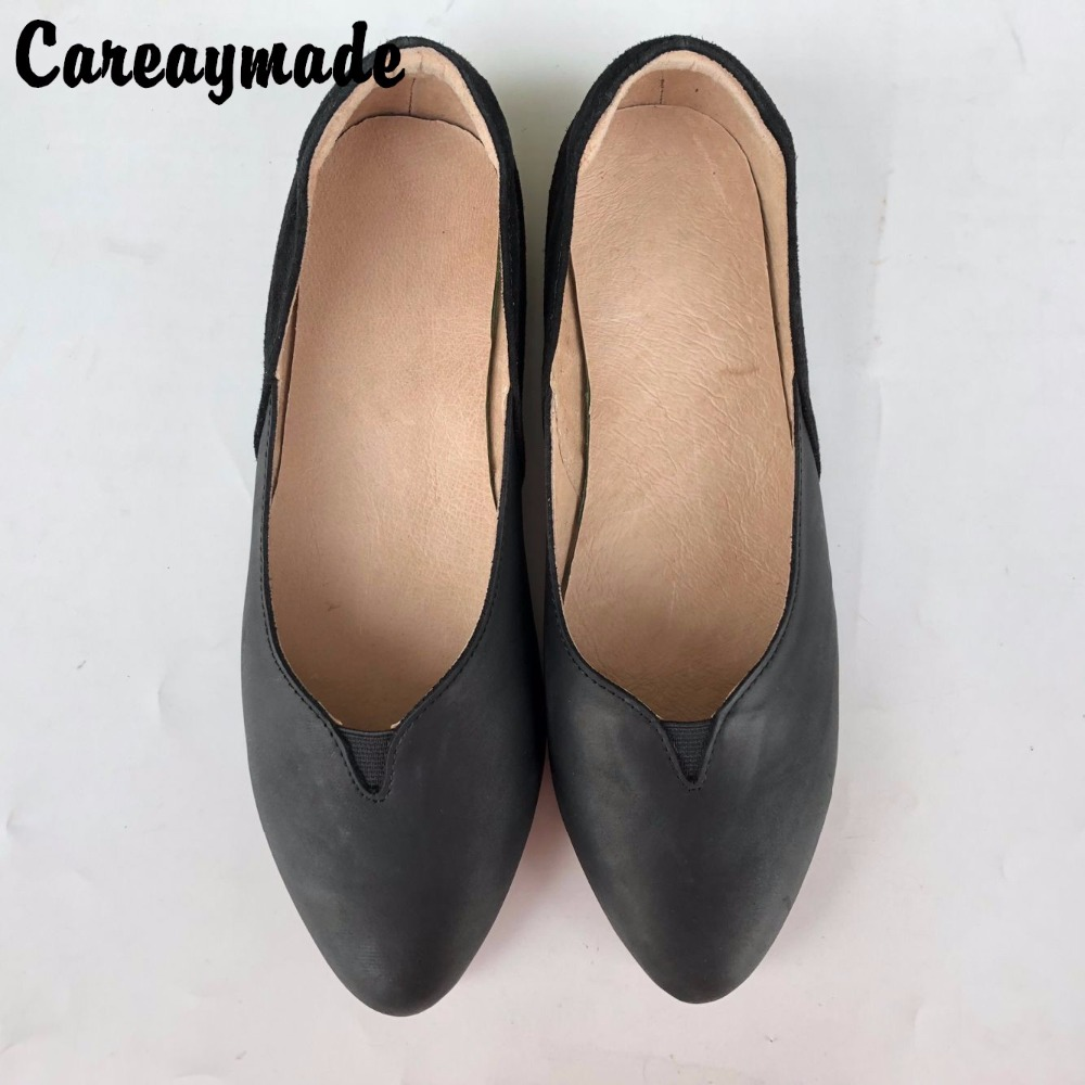 Careaymade Handmade Top layer Genuine leather shoes European style leisure comfortable flat shoes the retro art