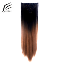 jeedou Straight Hair 24 60cm 100g Clip In Extension 7Pcs/set Natural Black Brown Pink Ombre Color Synthetic Hairpieces