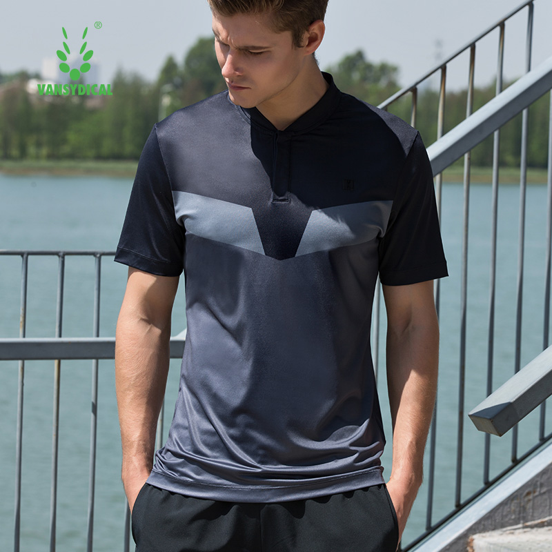 Mens Running Tees Short Sleeve Tennis Training Tops Printed Golf Polo Shirts Quick Dry Fitness Workout T-Shirts Plus Size