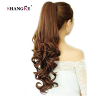 SHANGKE 22 Long Curly Ponytail Hair Pieces Clip In Fake Hair Extensions Long Curly Hair Tails