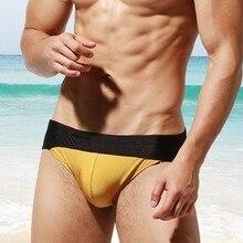 2019 Sexy Bulge Swimsuit Mens Swim Briefs Gay Men Swimwear Bikini Swimming Trunks Shorts Beach Contrast Color Male Bathing Suit men contrast panel letter print swim briefs