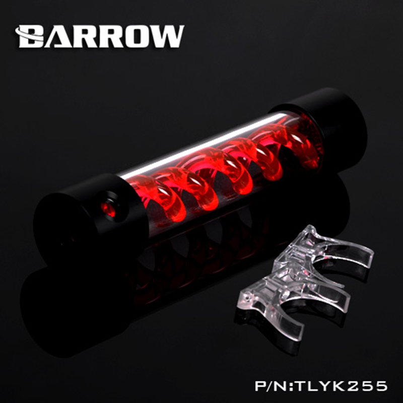 Barrow T Virus Helix Suspension Cylinder Water Tank 255mm Red With Black Cap Water Cooling  Reservoir TLYK255 barrow 155mm x 50mm double helix t virus cylindrical water cooled coolant tank light system pom pmma white cover 5 color tlyk155