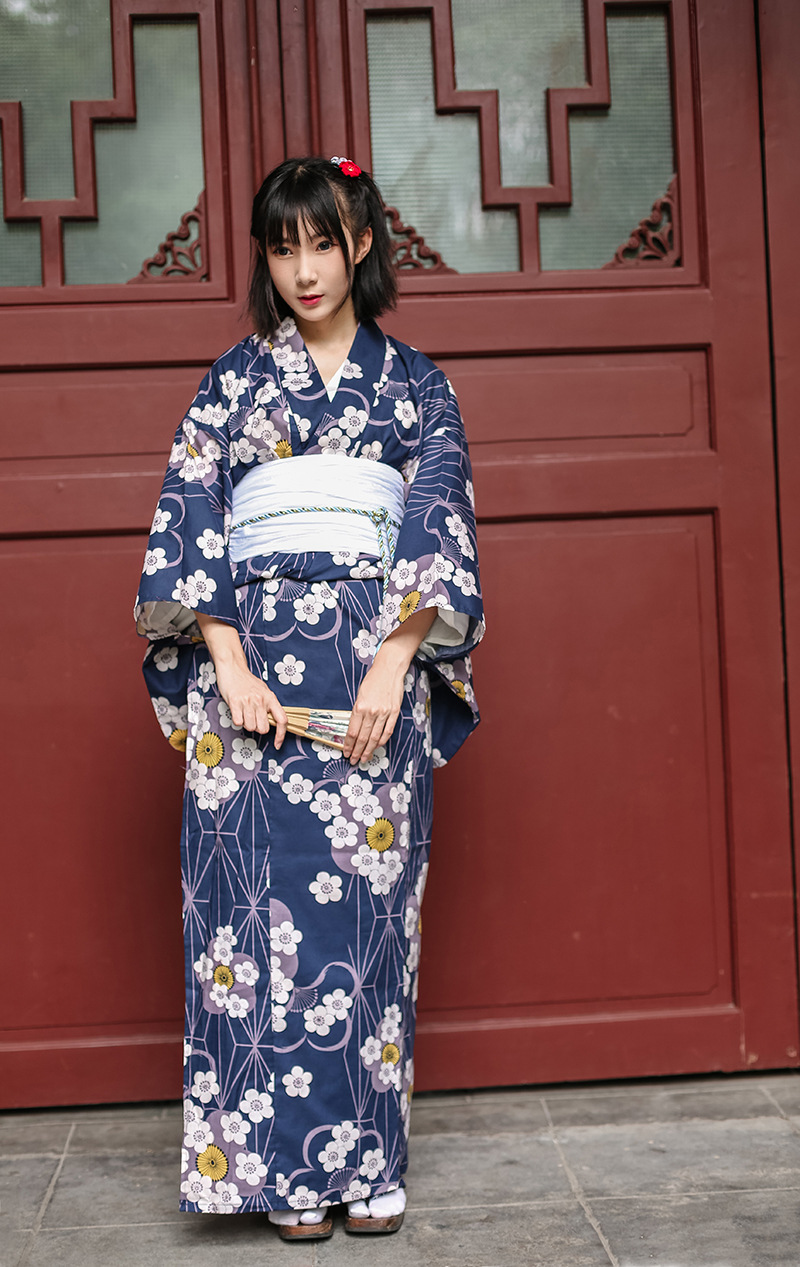 Japanese Cherry Blossom Pure Cotton Bathrobe And Kimono Suit