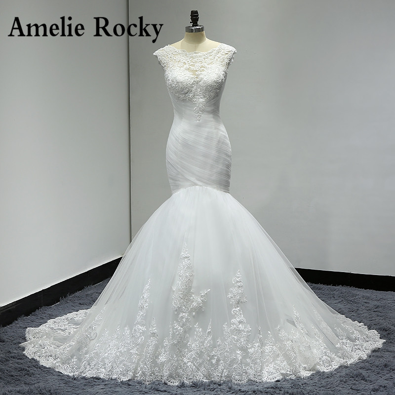 Pleated Mermaid Wedding Dresses 2019 Real Photo Trouwjurk Applique Lace Sexy Back Wedding Dress Bride Gown