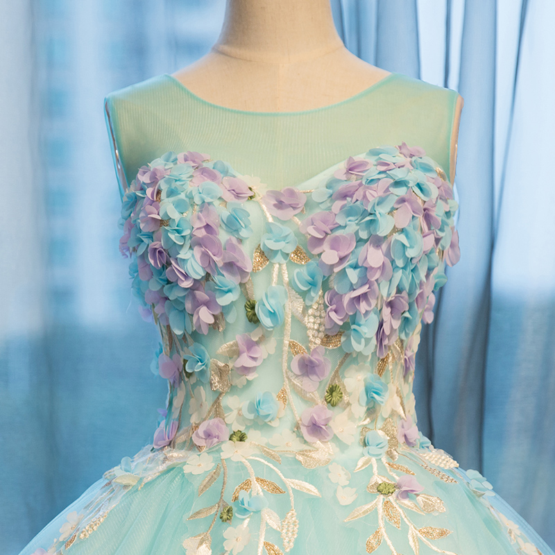 Clair Party Magnifique Dress Longueur Robe Vestidos Femmes Étage Fleurs Bal 2017 Applique Pageant Festa Manches Vert De qUAxxwS