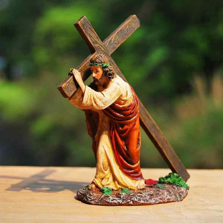 Haç İsa Reçine Zanaat Küçük Ev Dekorasyon Kilise Araba Süs Hıristiyan Katolik Hediye