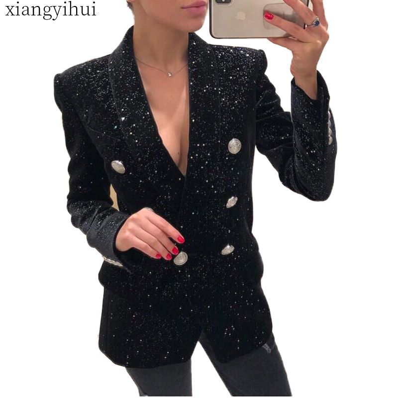 Black Blazer Coat Women Fashion Notched Collar Long Sleeve Jacket Outwear Office Lady Double Breasted Blazers Casual Blazers-in Blazers from Women's Clothing    1