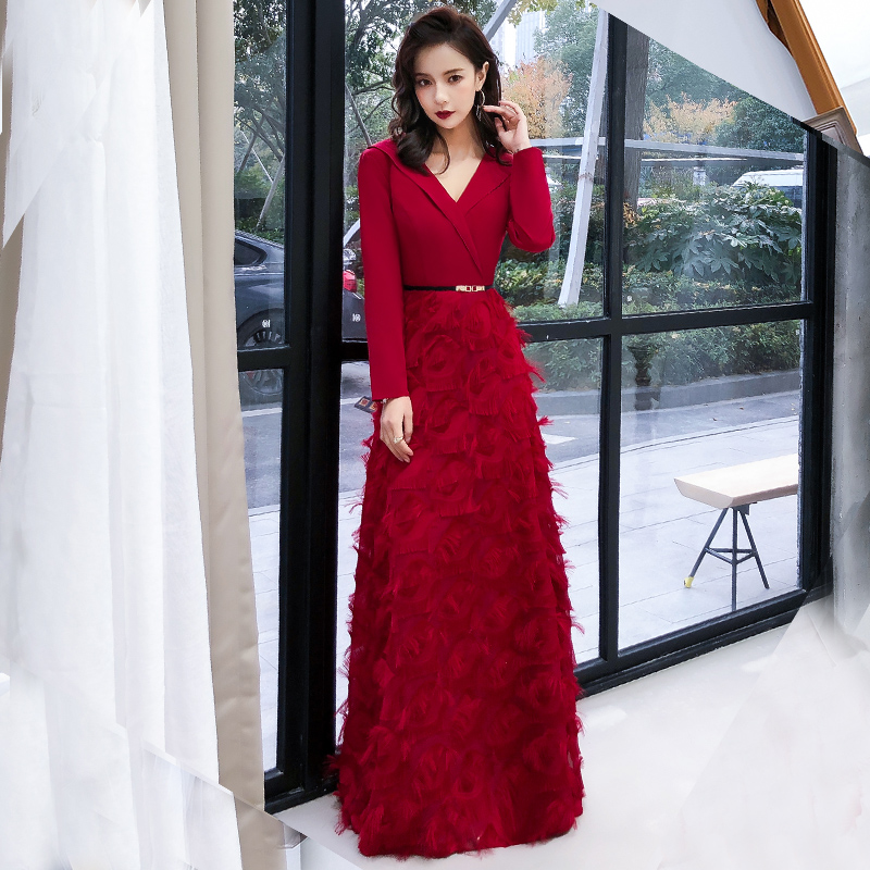 Wine Red Evening Dress 2020 Elegant Lace Evening Gowns Long Formal Evening Dress Styles Women Prom Party Dresses LYFY87
